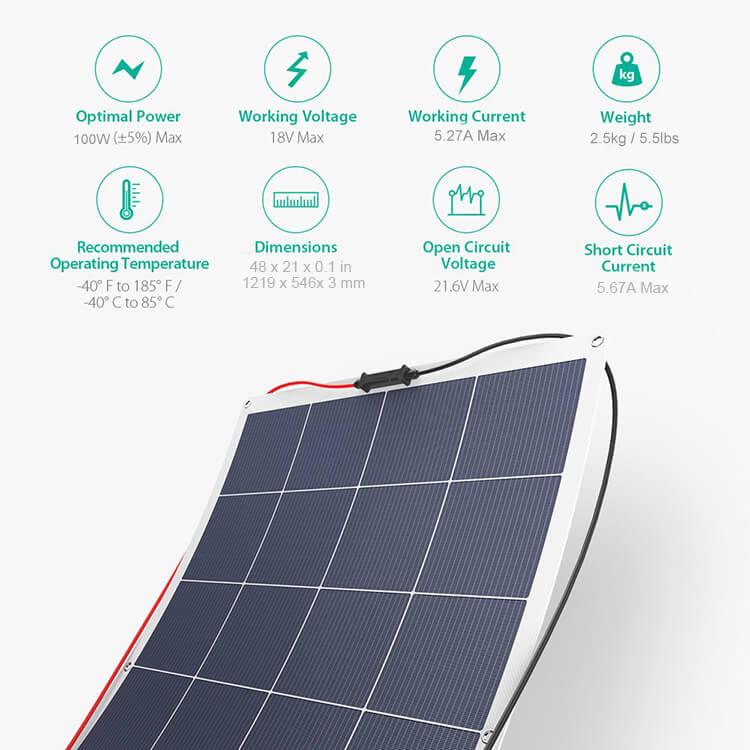 100w semi flexible solar panel